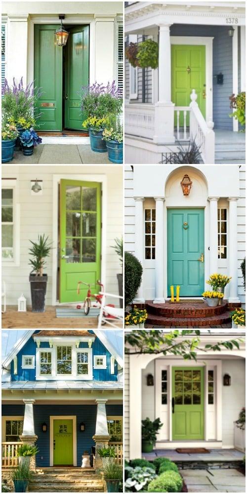 Remodelaholic Summer Porch Inspiration Green Front Doors - Green front door