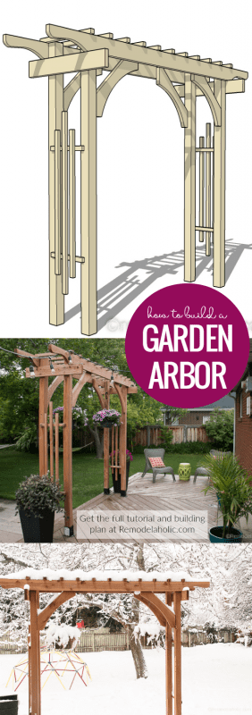 How To Build A Garden Arbor For A Backyard Structure Or Outdoor Wedding | This garden arbor is designed to be easily taken apart and transported, perfect for a wedding or other event. Plus, it uses readily available lumber sizes so it's easy to build on a budget to look great at an event and then in your backyard. Get the building plans plus video tutorial at Remodelaholic.com