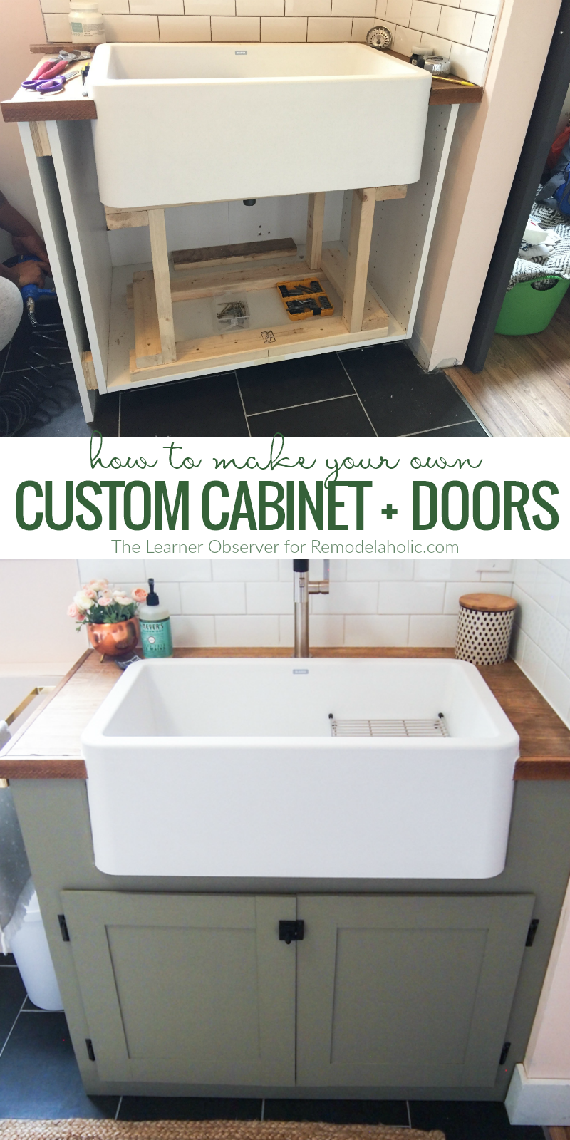 Cute How To Make Your Own Custom Cabinet Doors For An Odd Sized Cabinet Space Remodelaholic