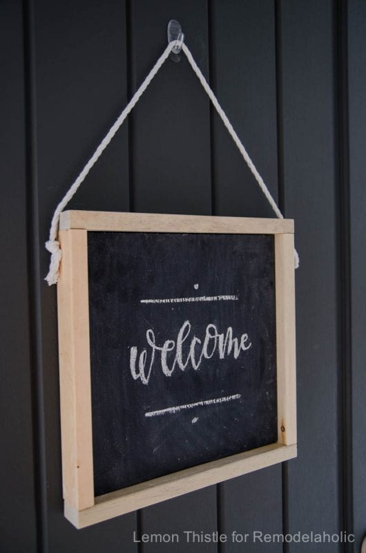 DIY Hanging Wooden Chalkboard- so simple! Plus free handlettered printable template