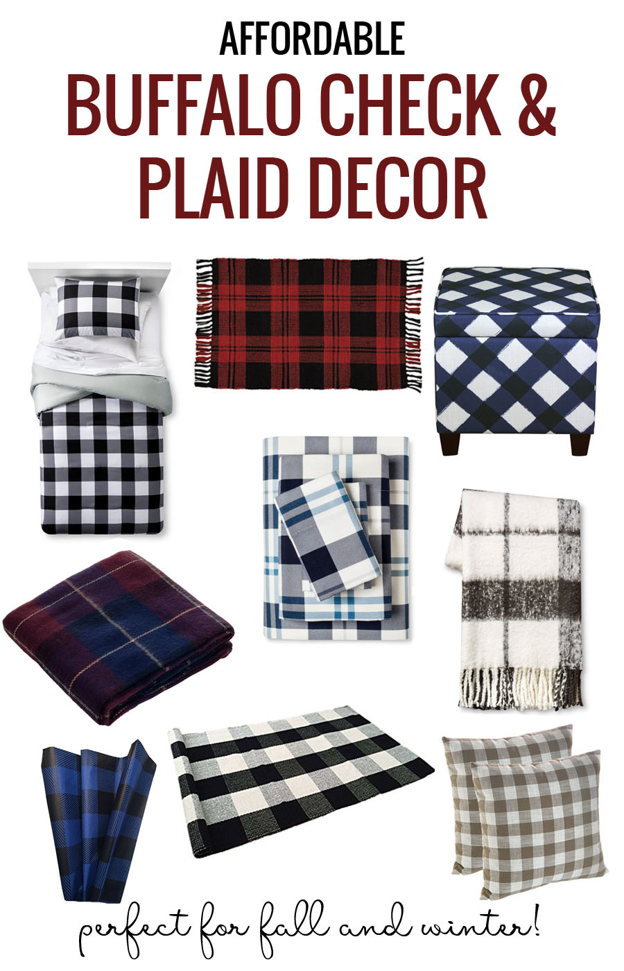 Affordable Plaid and Buffalo Check Home Decor Items