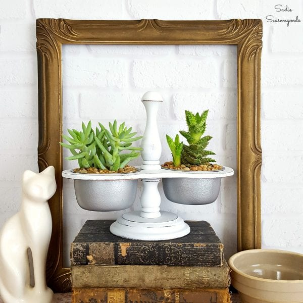 DIY Upcycled Farmhouse Style Succulent Planter With A Repurposed Vintage Condiment Caddy By Sadie Seasongoods