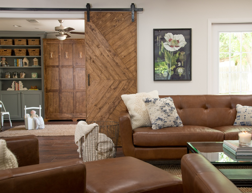 House Living Room remodelaholic | get this look: fixer upper pocket door house