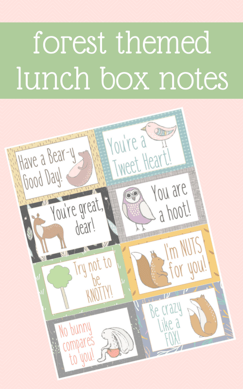 Send a little love at lunch time with these Forest Themed Lunch Box Notes. A FREE printable via Remodelaholic.com