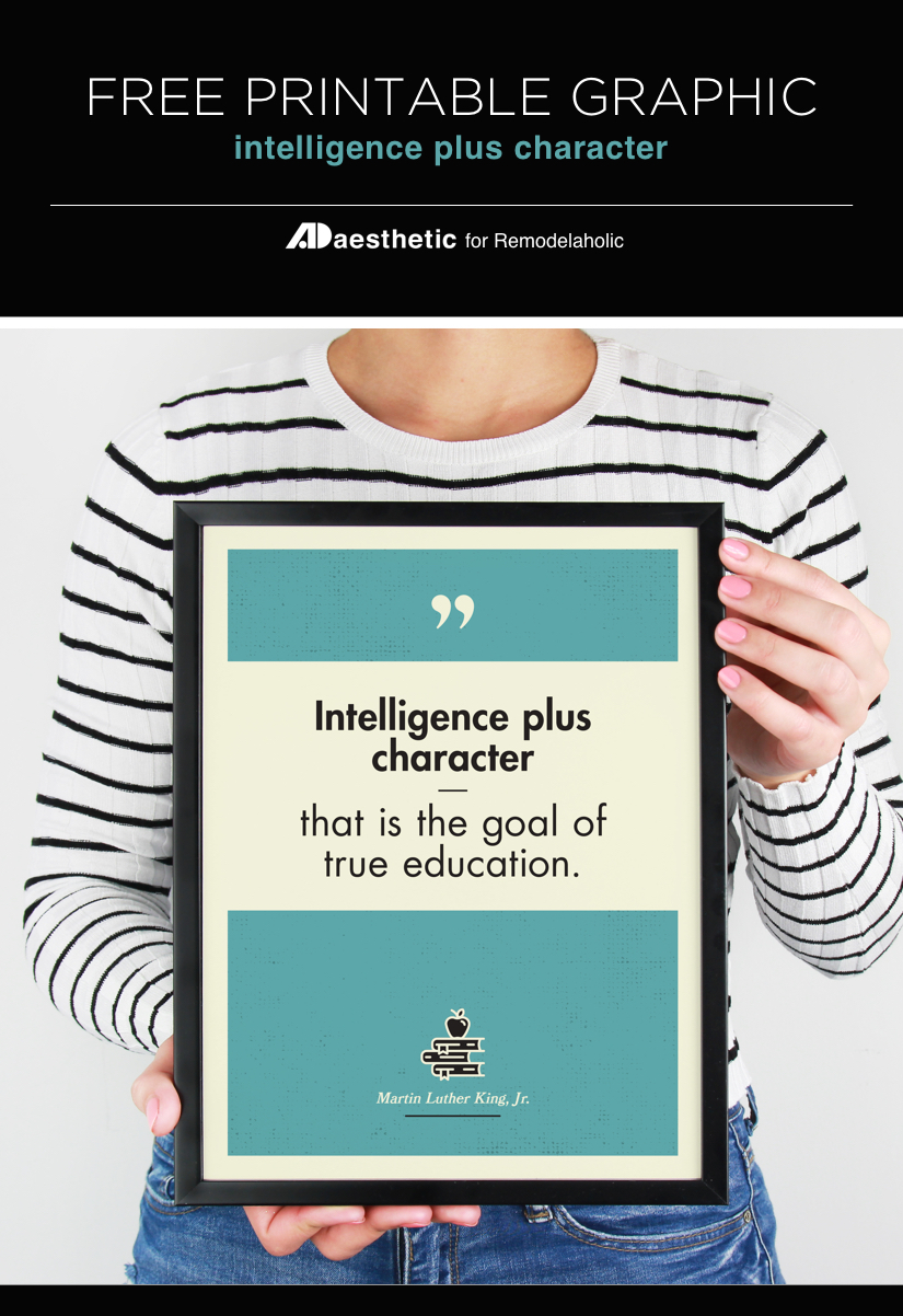 Free Printable Graphic • Intelligence Plus Character • AD Aesthetic For Remodelaholic • Vertical