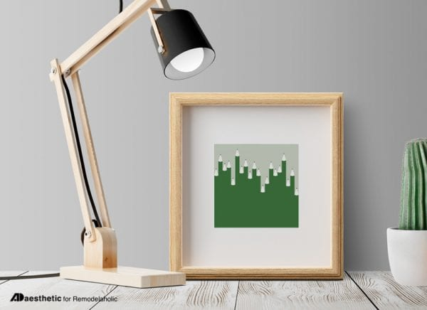 Printable Graphic for Back to School: Green Abstract Pencil Printable Wall Art
