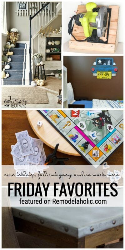 Friday Favorites Featuring Diy Zinc Tabletop, Fall Entryway, And So Much More At Remodelaholic.com