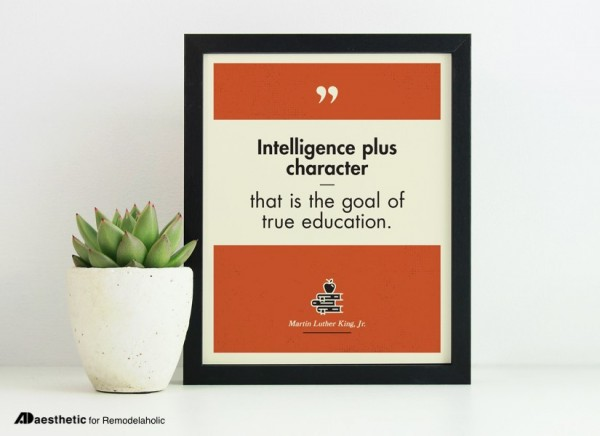 Martin Luther King Jr Quote Printable Wall Art, Intelligence Plus Character True Education, AD Aesthetic For Remodelaholic