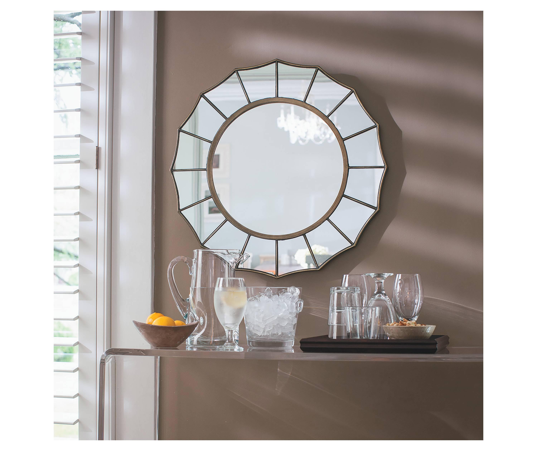 Round Mirror With Barcart