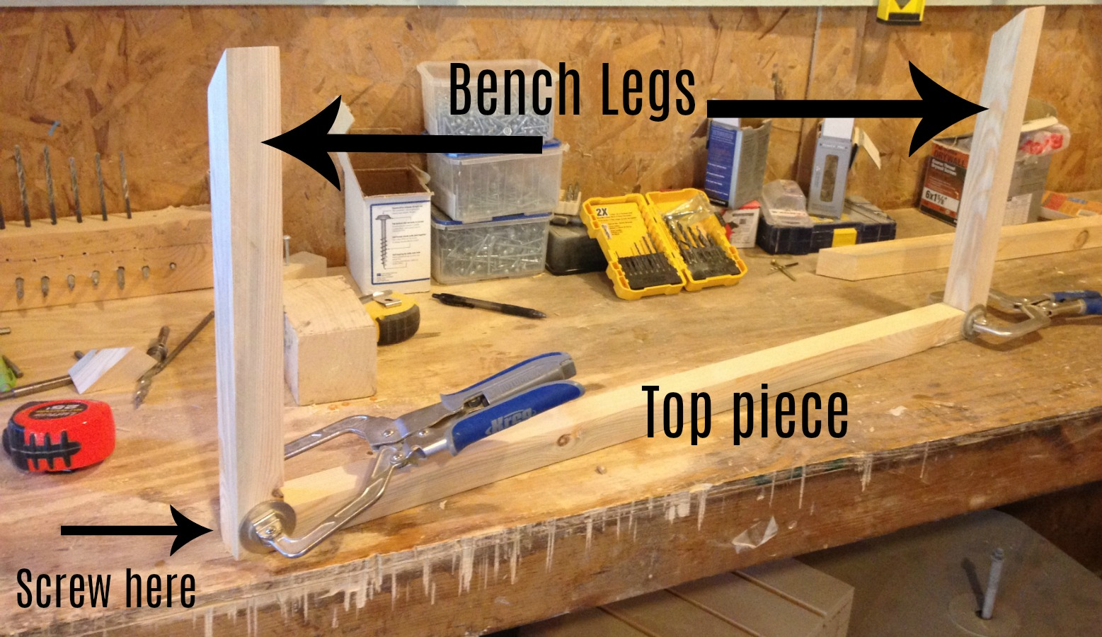 Woodshop Diaries Woven Bench Glue Up Legs