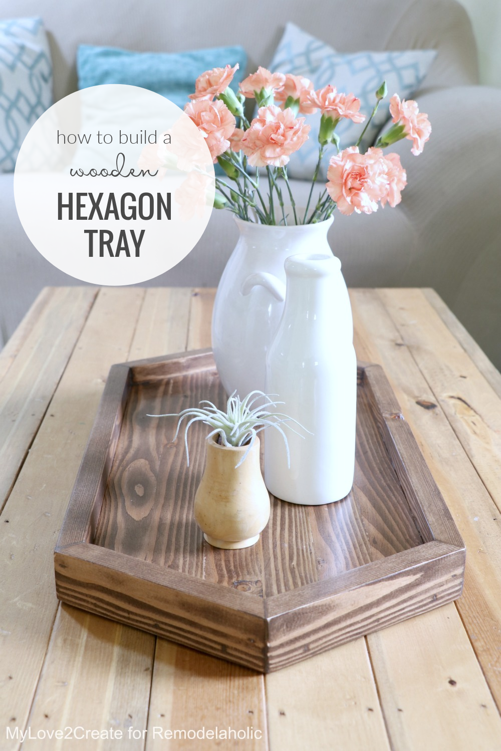Build A Wood Hexagon Tray, Long Serving Tray DIY, Remodelaholic