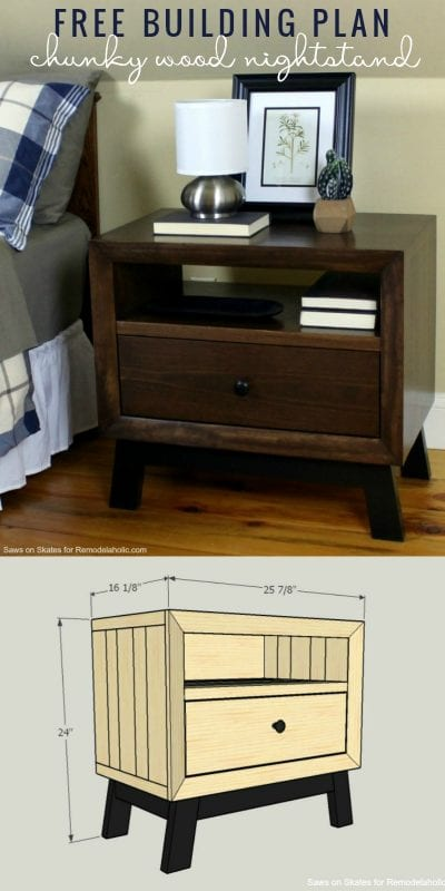 Learn to Build This Chunky Solid Wood Nightstand   Free Building Plan And Tutorial   Mid-Century Modern   Bedside Table   Bedroom Storage