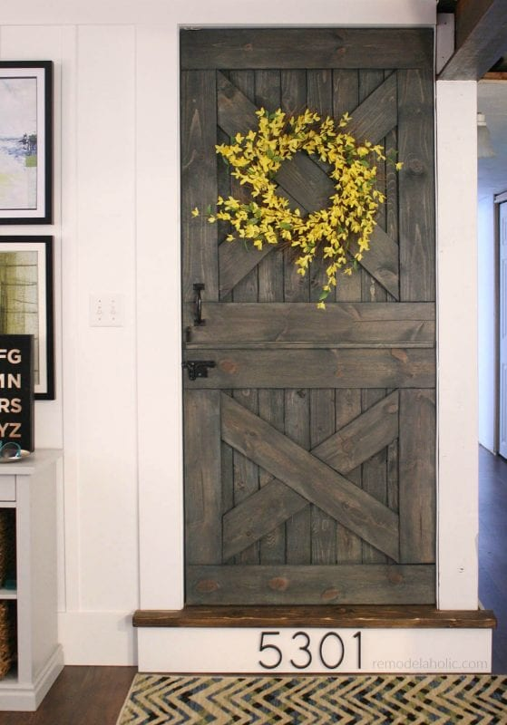 Finished Dutch Barn Door Wooden Baby Gate @Remodelaholic