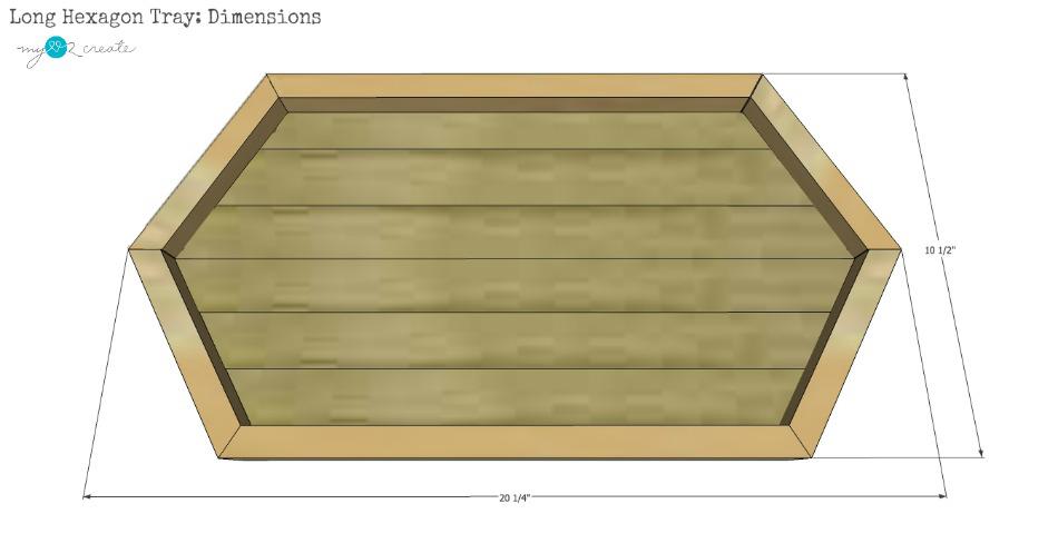 DIY Long Hexagon Wood Serving Tray Plan Dimensions