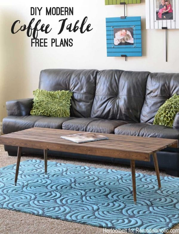 Add some mid-century style to your home with this easy to build DIY modern slat coffee table that could double as a bench, too! No special tools required to build it, and it's easy to customize to fit the size you need.