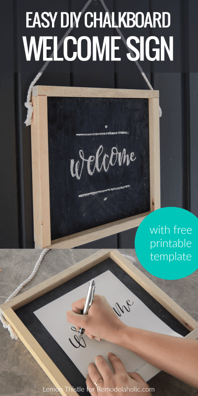 Make this easy and inexpensive DIY wooden chalkboard welcome sign for your front door. Use the free traceable chalk lettering template or skip the chalk and use the free printable on its own. Full written and video tutorial from Lemon Thistle on Remodelaholic.com.