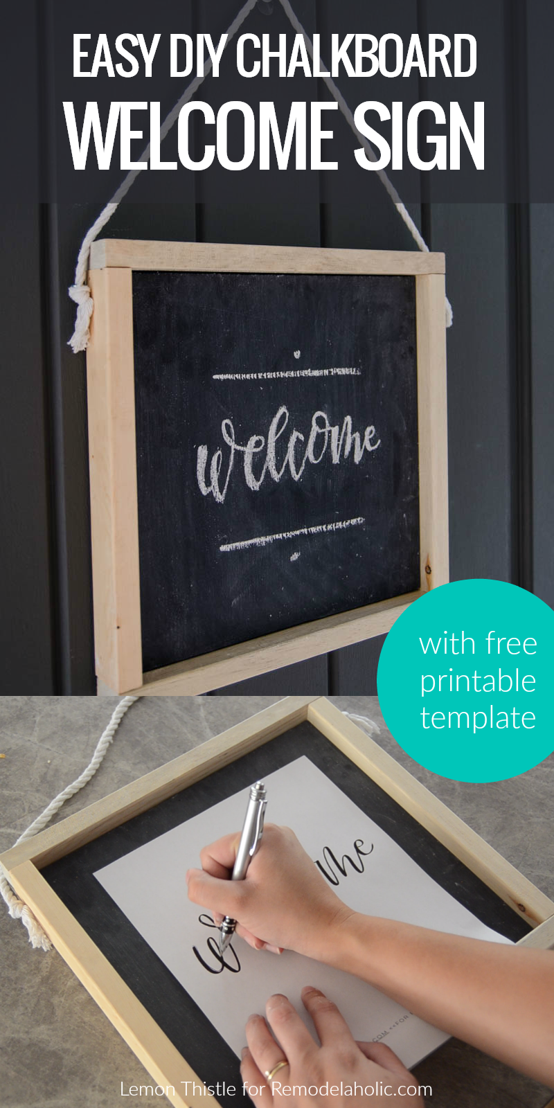 remodelaholic how to make your own wooden chalkboard welcome sign free printable template. Black Bedroom Furniture Sets. Home Design Ideas