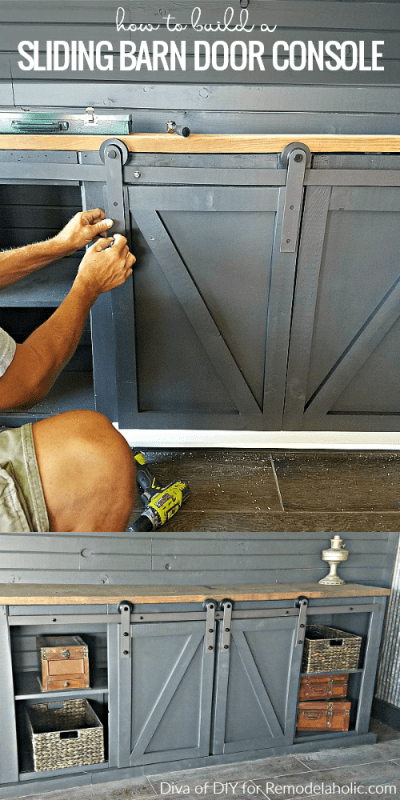 How To Build A Sliding Barn Door Console For An Entertainment Center Or Media Room @Remodelaholic