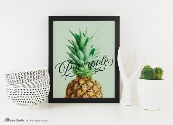 Printable Kitchen Wall Art, Pineapple Word Art, AD Aesthetic For Remodelaholic