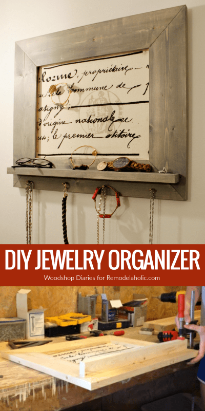 Put your necklaces and bracelets in order with this easy custom DIY jewelry organizer. It features a small ledge shelf plus hooks for necklaces, and the backing is fabric covered pinboard so you can leave yourself reminders and customize your hanging jewelry for rings, brooches, and more. Make it in any size you need to fit your space and your accessories.