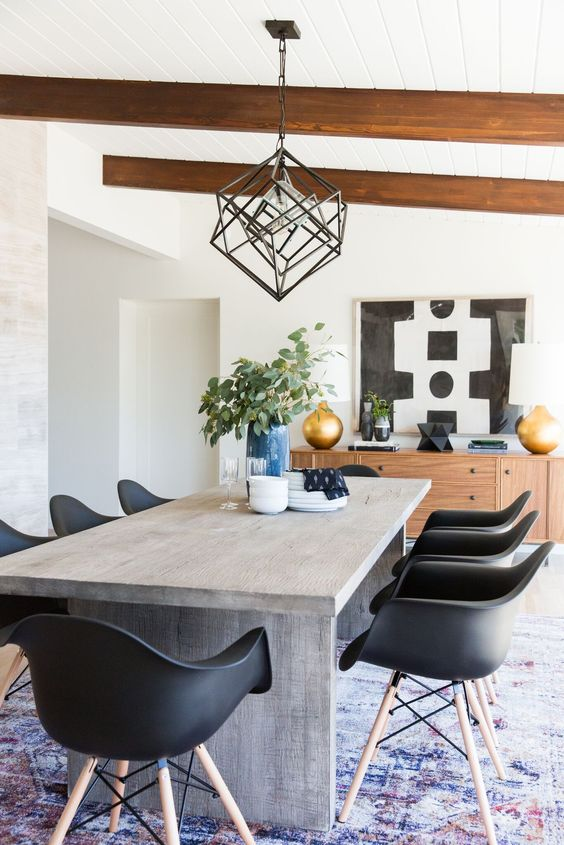 Neutral Mid-Century Modern Dining Room Decorating Tips and Ideas