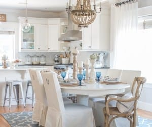 Antique White Pedestal Table Makeover With Pumpkins