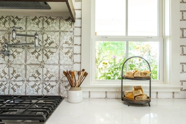 Get This Look: Fixer Upper Worm House Kitchen Image via Magnolia used with permission, beautiful tile and tiered tray for the kitchen