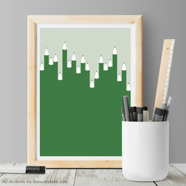 Printable Abstract Wall Art Green Pencils Art Printable, AD Aesthetic For Remodelaholic