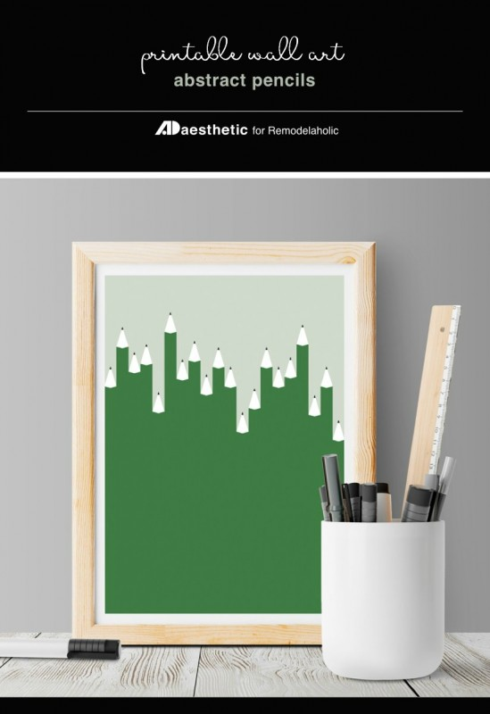 Printable Abstract Wall Art Green Pencils For Creative Back To School Decor, AD Aesthetic For Remodelaholic