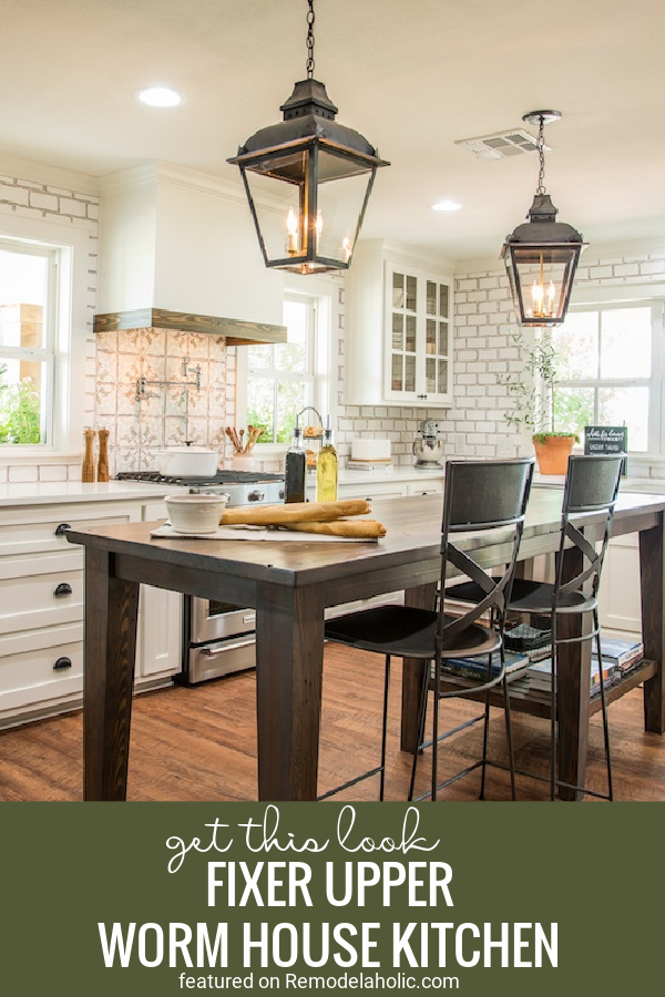 Tips For Recreating The Fixer Upper Worm House Kitchen With These Tips And Shopping Ideas Featured On Remodelaholic.com