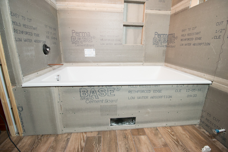 Remodelaholic basement bathroom drywall and cement board for Drywall or cement board for shower