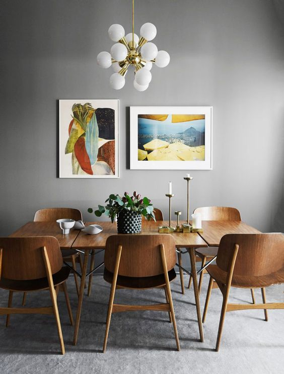 Remodelaholic dining in style neutral mid century for Neutral dining room ideas