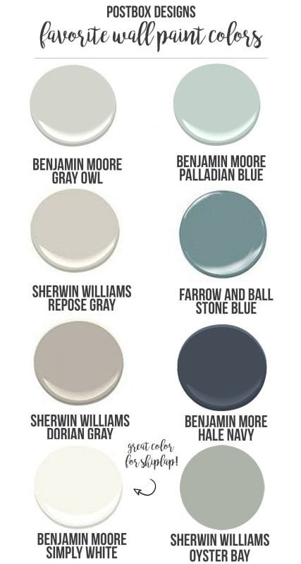 Best Farmhouse Wall Paint Colors | shiplap | Fixer Upper style | paint palette
