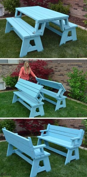 Foldable Picnic Table To Bench