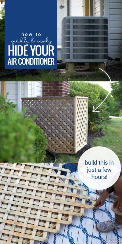 Hide your AC unit with this quick and easy DIY air conditioner screen built from lattice. It's non-permanent and easy to move for access, a great solution for renters or anyone who needs a quick camouflage job. Easy weekend project to improve your curb appeal and yard area.