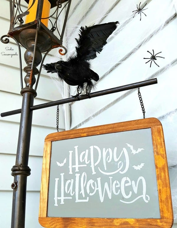 13 Lamp Post Style Lantern Candle Holder Repurposed As Vintage Happy Halloween Street Sign For DIY Porch Decor By Sadie Seasongoods