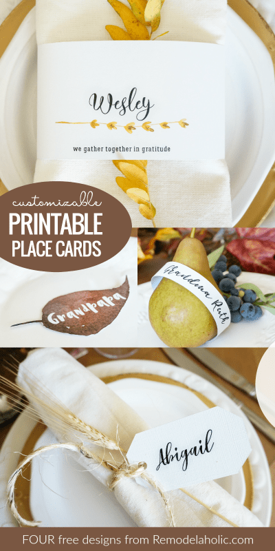 4 Free Customizable Printable Place Card Template Designs For Thanksgiving Or Holiday Dinner @Remodelaholic