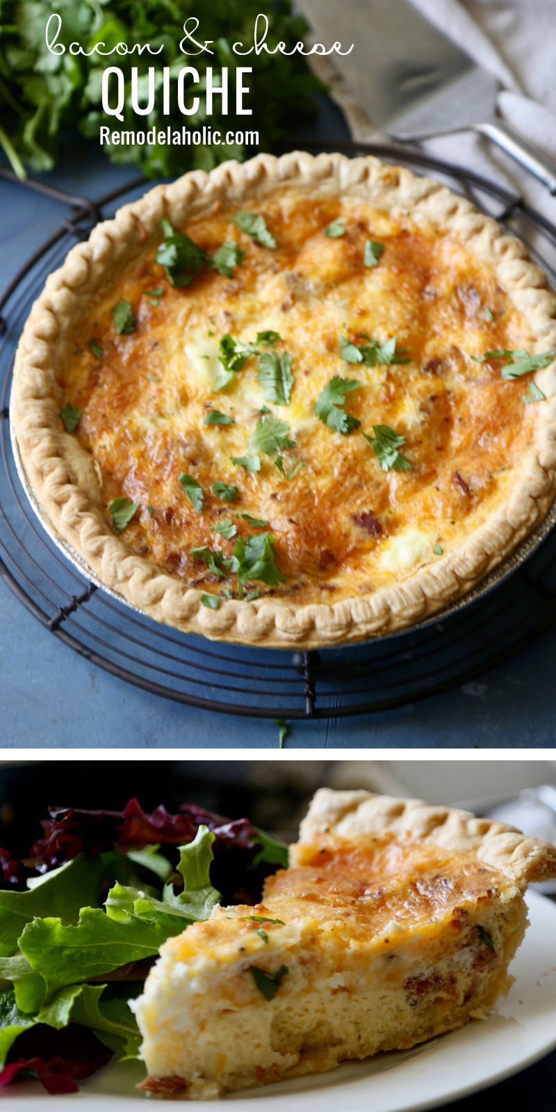 A delicious recipe for breakfast or dinner! Bacon & Cheese Quiche at Remodelaholic.com