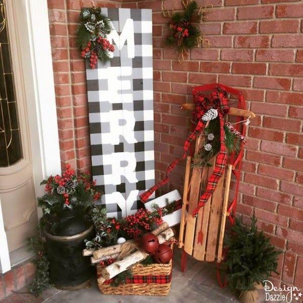 Buffalo Check Merry Porch Sign Design Dazzle