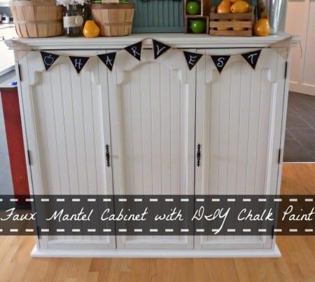 Faux Mantel Cabinet With DIY Chalk Paint 1024x914