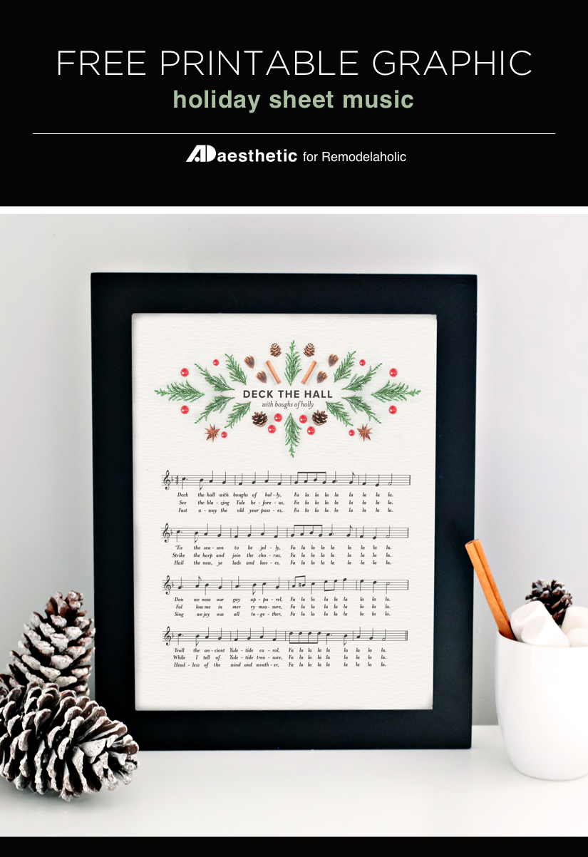 Free Printable Graphic • Deck The Hall • AD Aesthetic For Remodelaholic • Vertical
