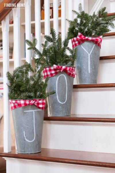 Galvanized Christmas Buckets