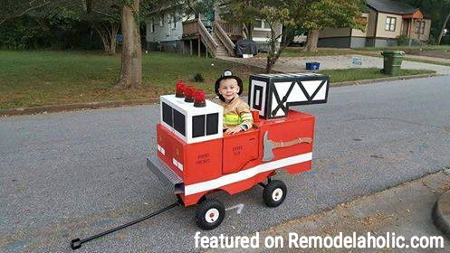 Halloween Fire Truck Wagon Tutorial Featured On Remodelaholic.com