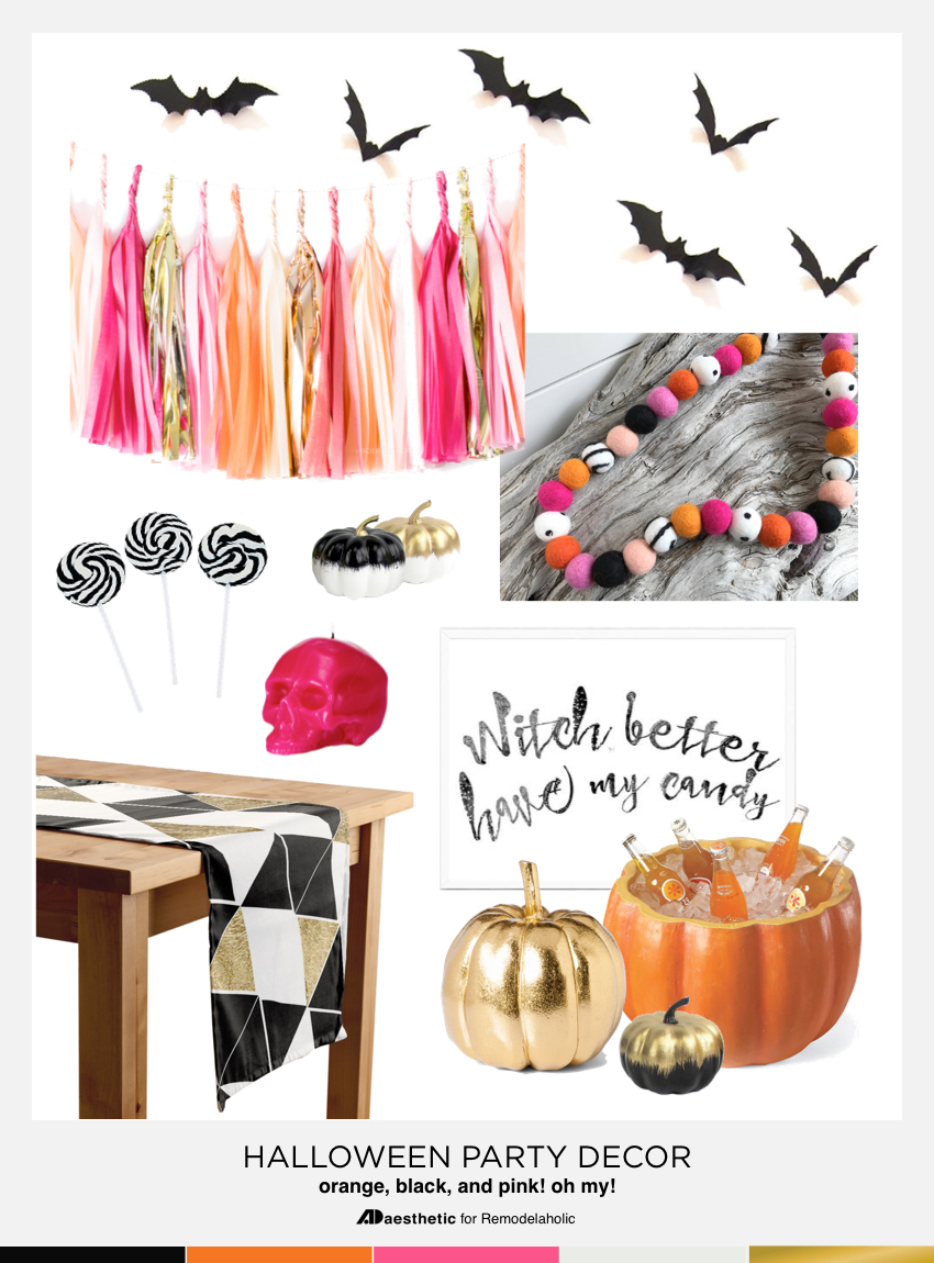 Creative Halloween Party Decor | Add a pop of PINK with some gold for a fun not-quite-traditional Halloween party style