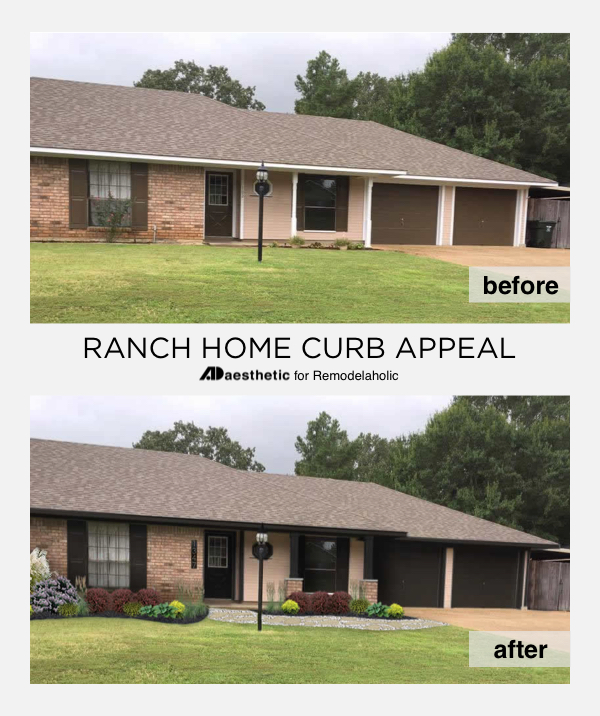 Update your ranch home curb appeal without a major renovation or even paint using these easy curb appeal improvement ideas in this virtual home makeover.