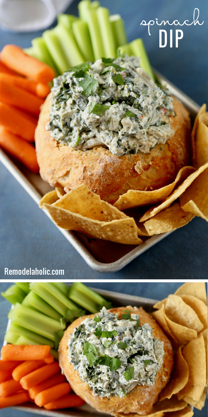 A yummy crowd favorite appetizer! Spinach Dip Recipe via Remodelaholic.com