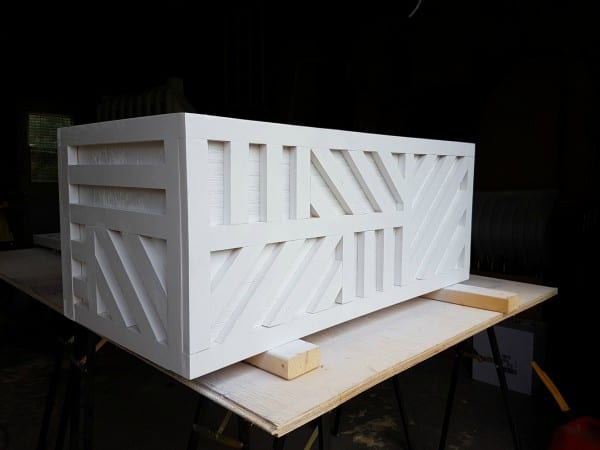 how to build a one sheet plywood storage box with lid, geometric inlay painted white