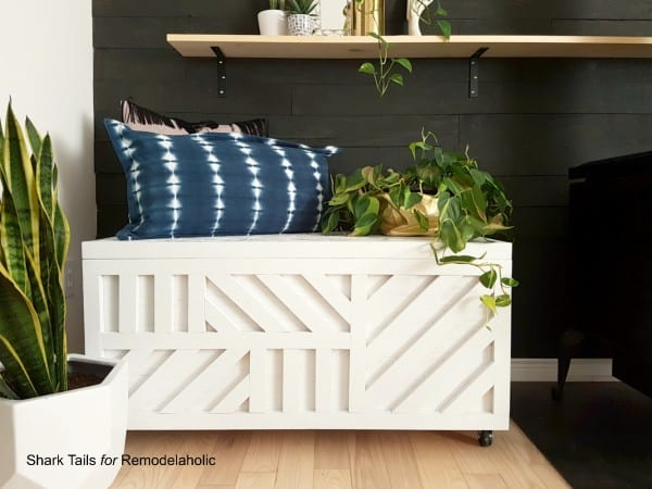 one sheet DIY plywood storage box tutorial with geometric inlay design