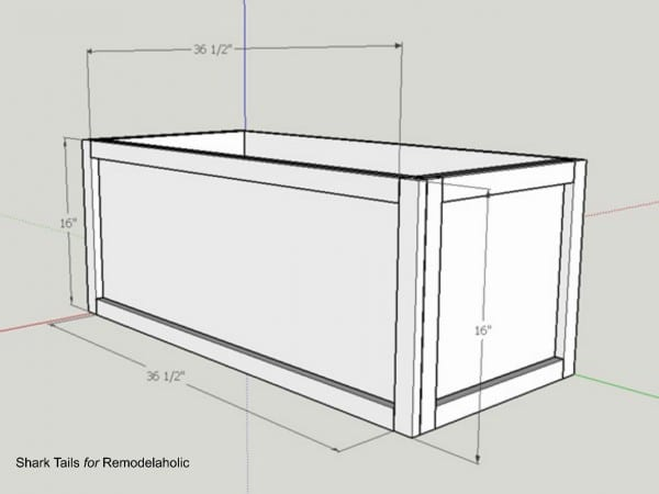 how to build a one sheet plywood storage box, add front trim