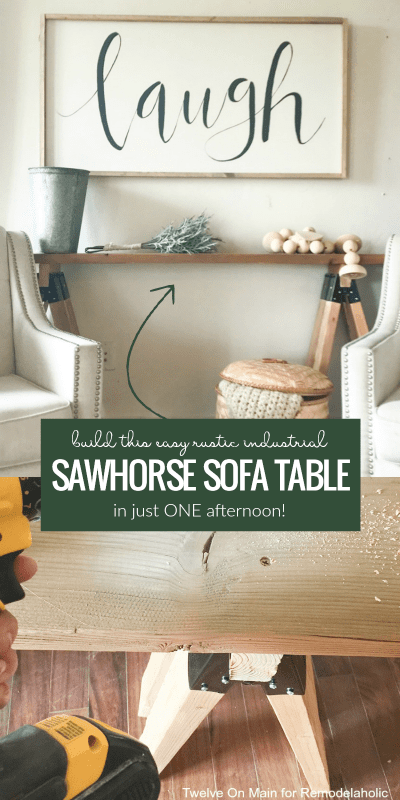 Build an easy rustic industrial farmhouse sawhorse sofa table in an afternoon! This simple build will only take a few hours and cost around $30 or less.